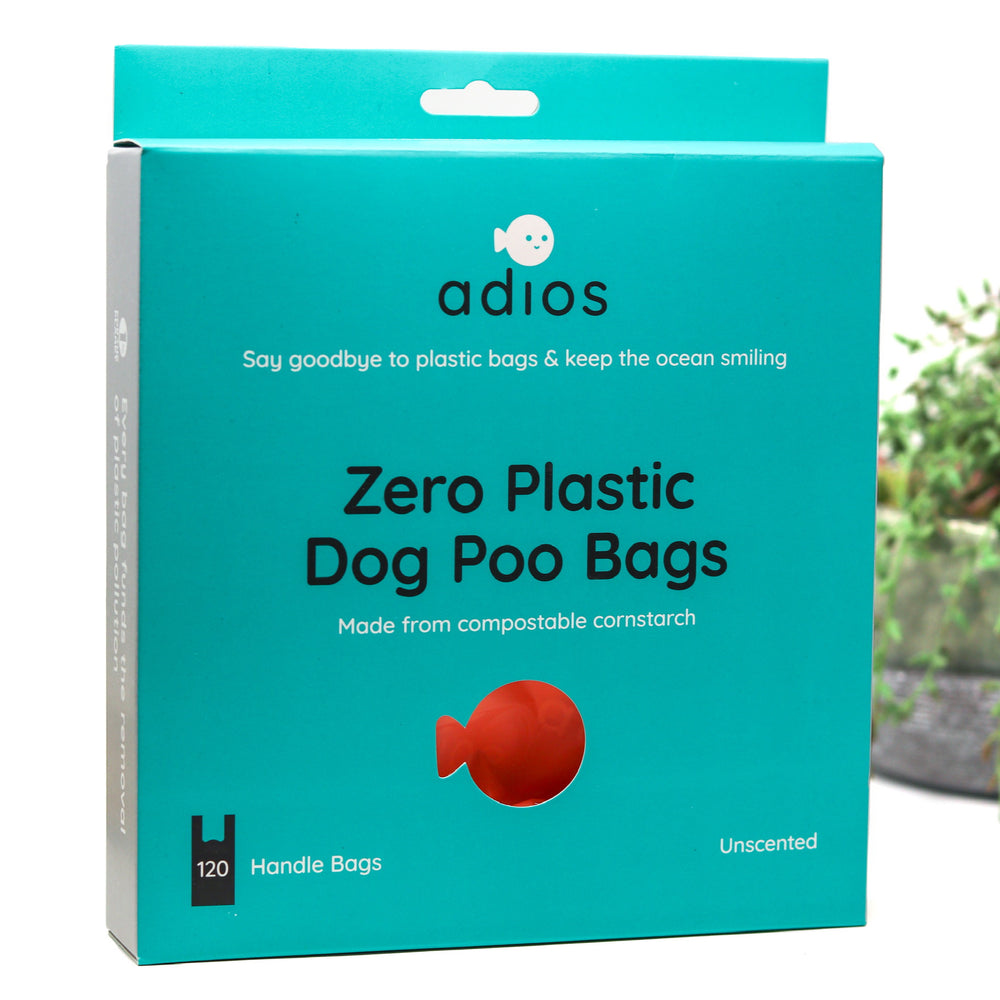 ADIOS COMPOSTABLE DOG POOP BAGS WITH HANDLES BOX OF 120