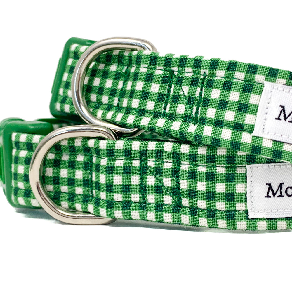 'GINGHAM' DOG COLLAR AND OPTIONAL LEAD IN EMERALD GREEN
