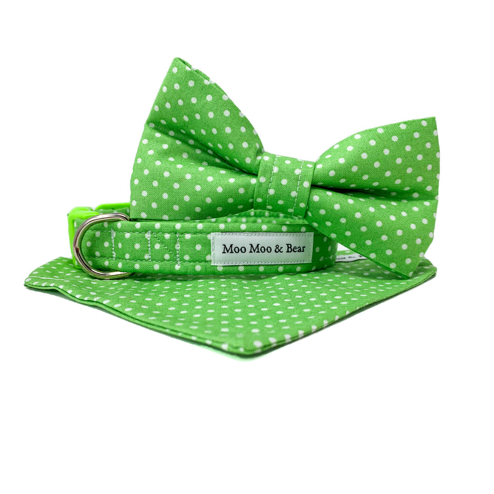 'POLKA DOT' DOG BOW TIE IN APPLE GREEN