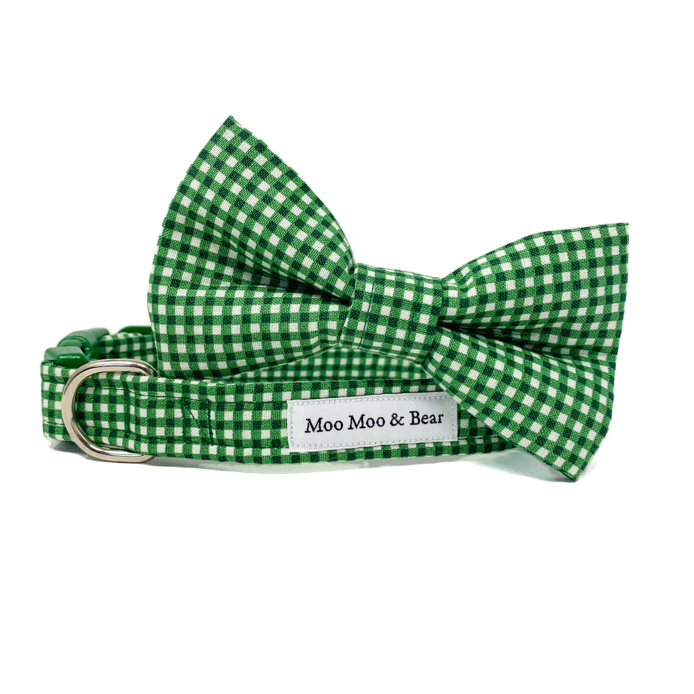 'GINGHAM' DOG BOW TIE IN EMERALD GREEN