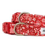 'SCANDI WINTER' RED DOG COLLAR AND OPTIONAL LEAD