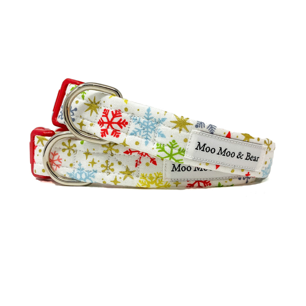 'SNOWFLAKES' WINTER WHITE DOG COLLAR AND OPTIONAL LEAD