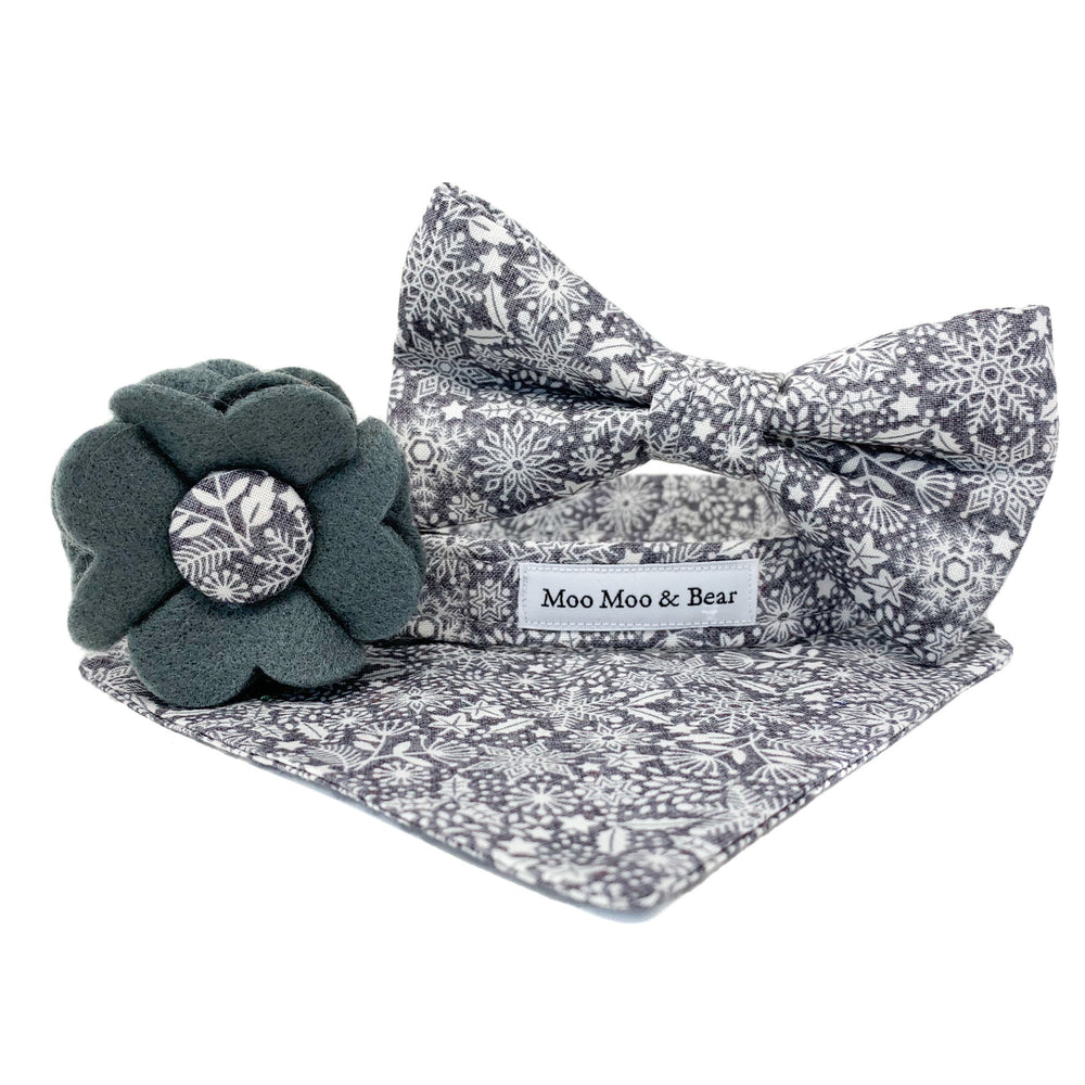 'SCANDI WINTER' GREY DOG BOW TIE