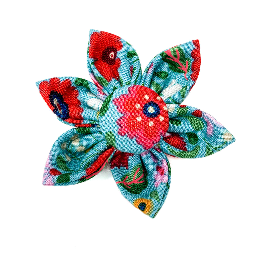 'BOHO' DOG COLLAR FABRIC FLOWER IN BLUE