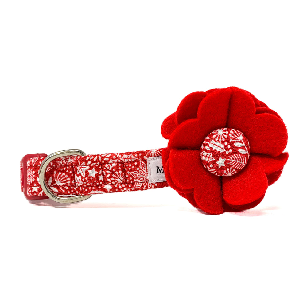 'SCANDI WINTER' RED DOG COLLAR FELT FLOWER