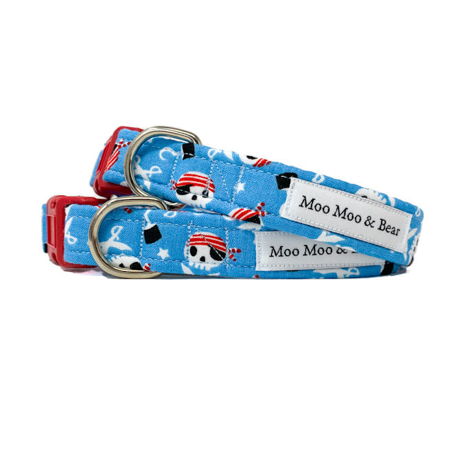 Captain Jack pirate dog collar blue