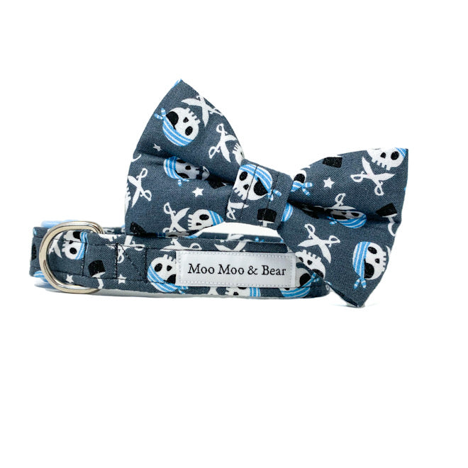 'CAPTAIN JACK' DOG BOW TIE IN GREY