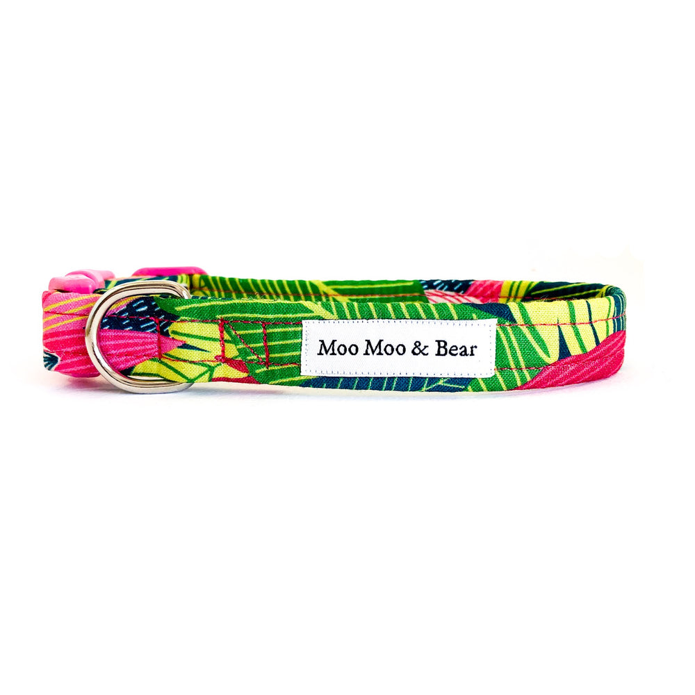'TROPICS' DOG COLLAR AND OPTIONAL LEAD IN PINK
