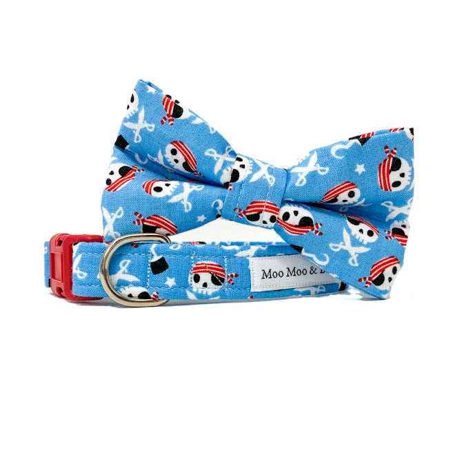 pale blue pirate captain jack dog bow tie