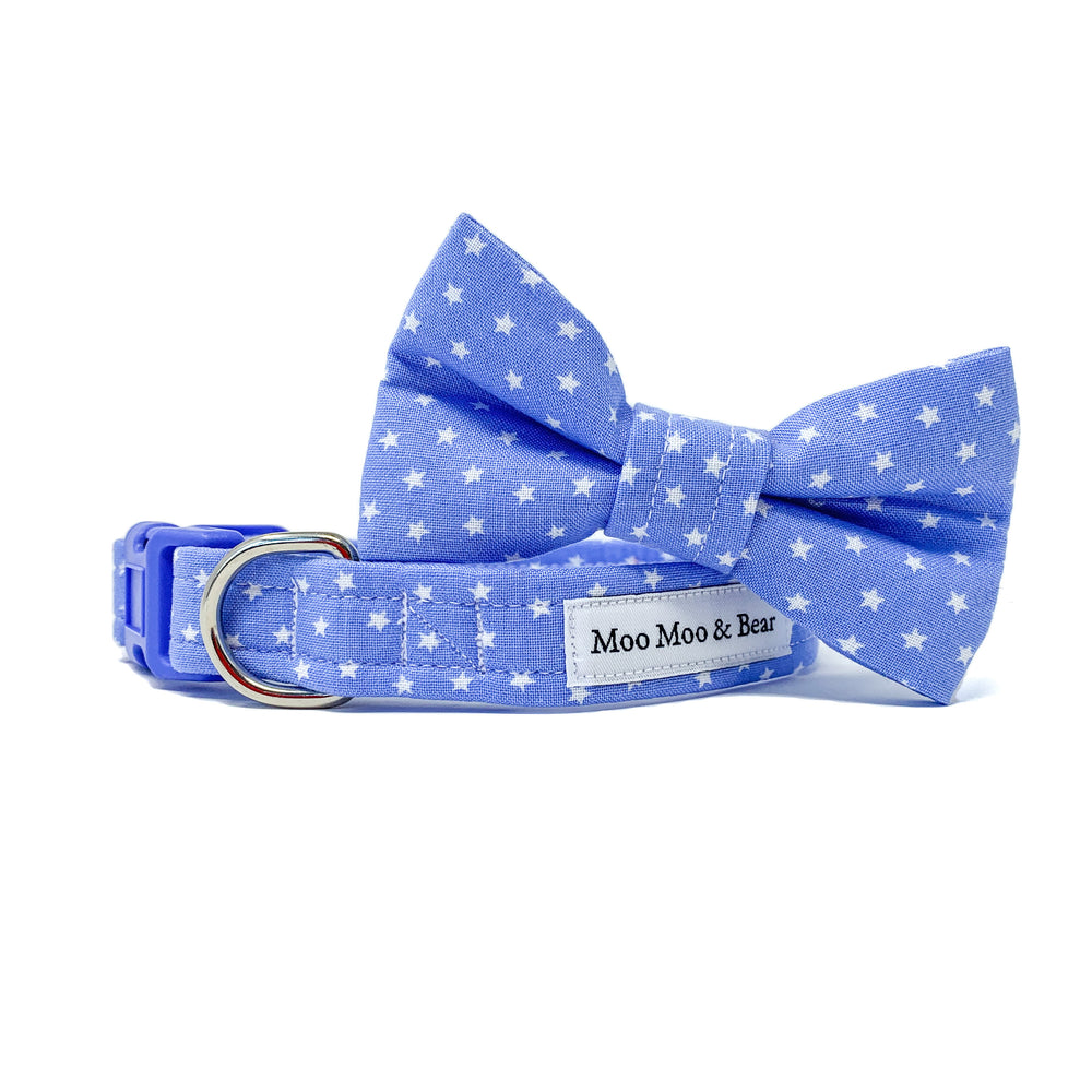 blue stars handmade dog bow tie | Moo Moo & Bear