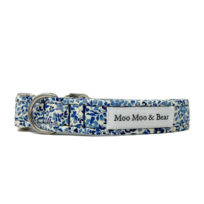 LIBERTY OF LONDON KATIE AND MILLIE BLUE TONE DOG COLLAR AND OPTIONAL LEAD