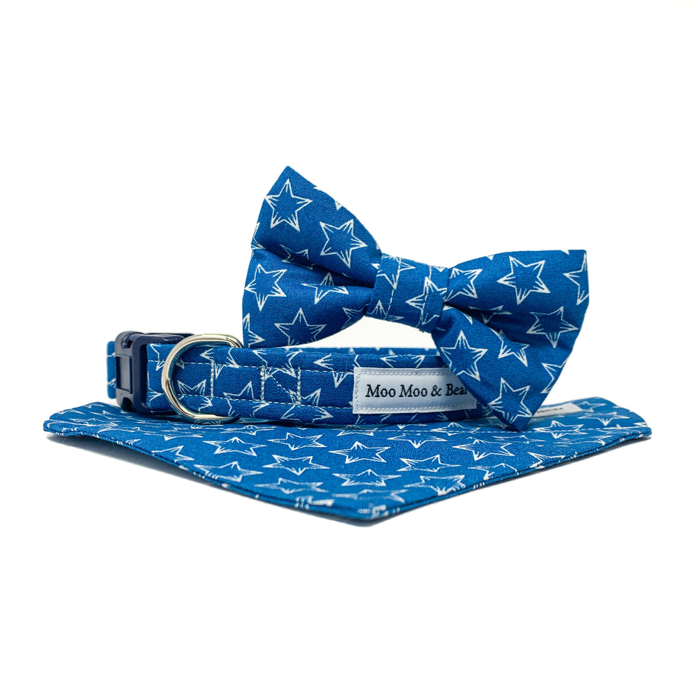 'BOBBY DAZZLER' BLUE STAR PRINT DOG COLLAR AND OPTIONAL LEAD