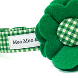 'GINGHAM' DOG COLLAR FELT FLOWER IN EMERALD GREEN