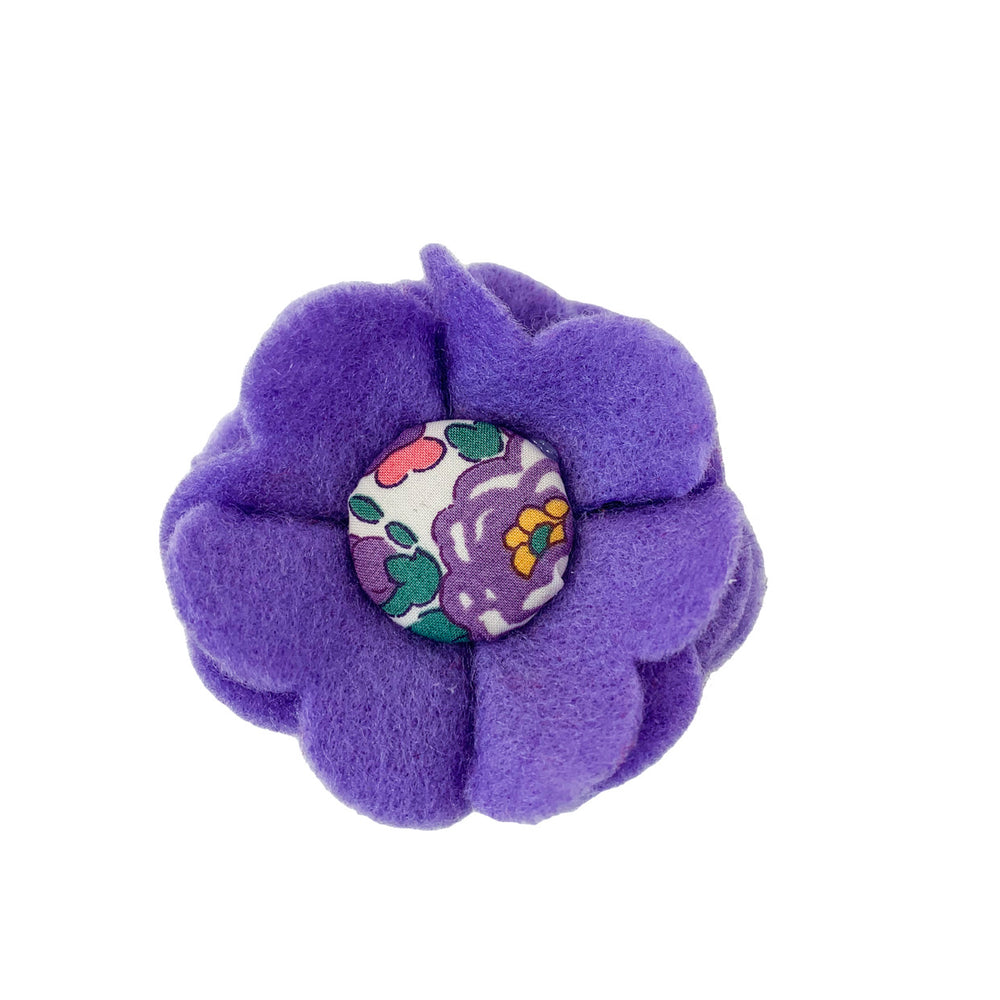 decorative wool blend felt dog collar flower with liberty button