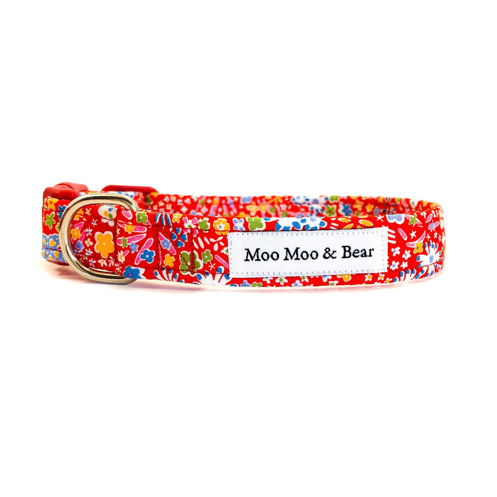 Liberty Handmade dog collar red kayak authentic fabric