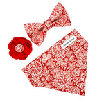 'LACE' DOG BOW TIE IN RED