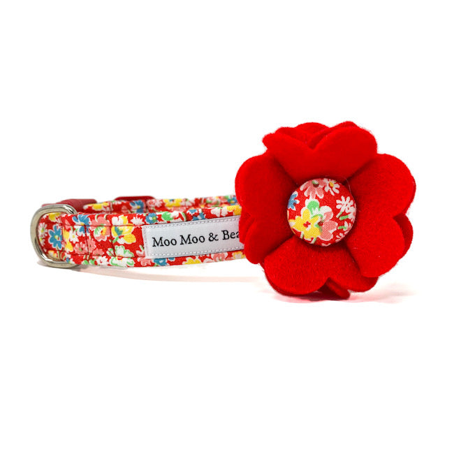 'SUMMER MEADOW' DOG COLLAR FELT FLOWER