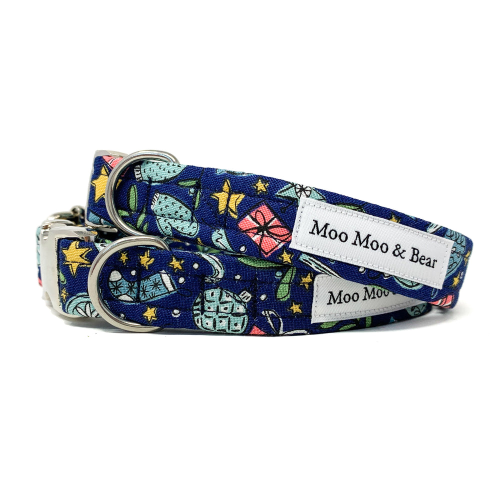 CHRISTMAS AT LIBERTY FESTIVE JOY BLUE DOG COLLAR AND OPTIONAL LEAD