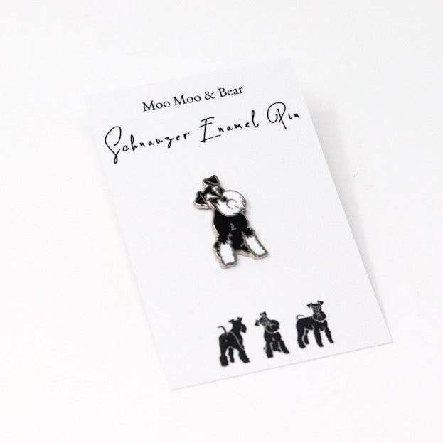MOO MOO & BEAR BLACK AND SILVER SCHNAUZER ENAMEL PIN BADGE