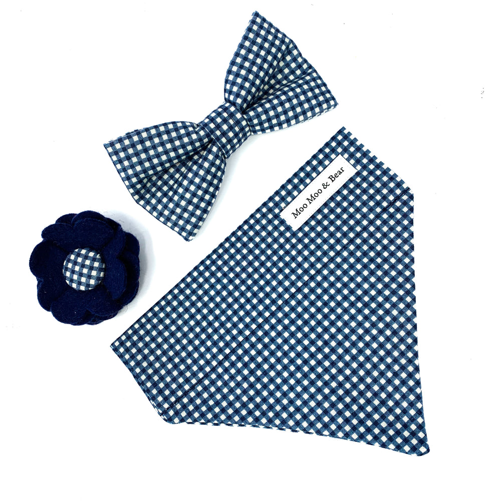 'GINGHAM' DOG COLLAR FELT FLOWER IN NAVY BLUE