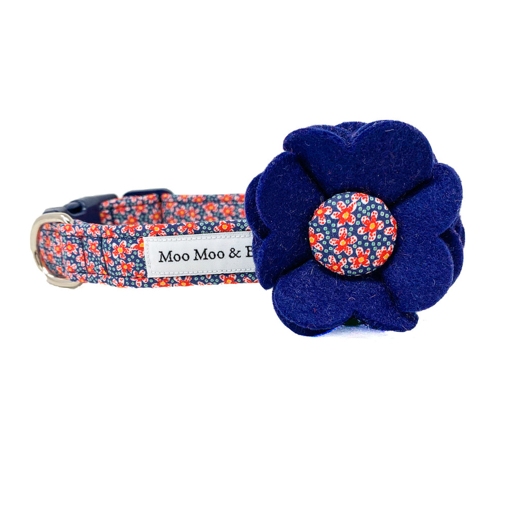 Liberty of London wool blend felt dog collar flower with speckle fabric button