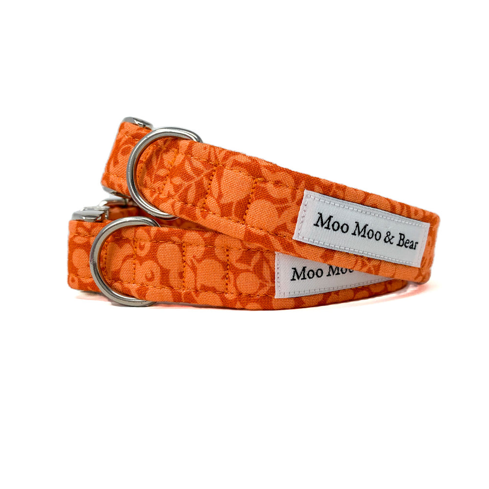 LIBERTY OF LONDON WILTSHIRE ORANGE COTTON DOG COLLAR AND OPTIONAL LEAD