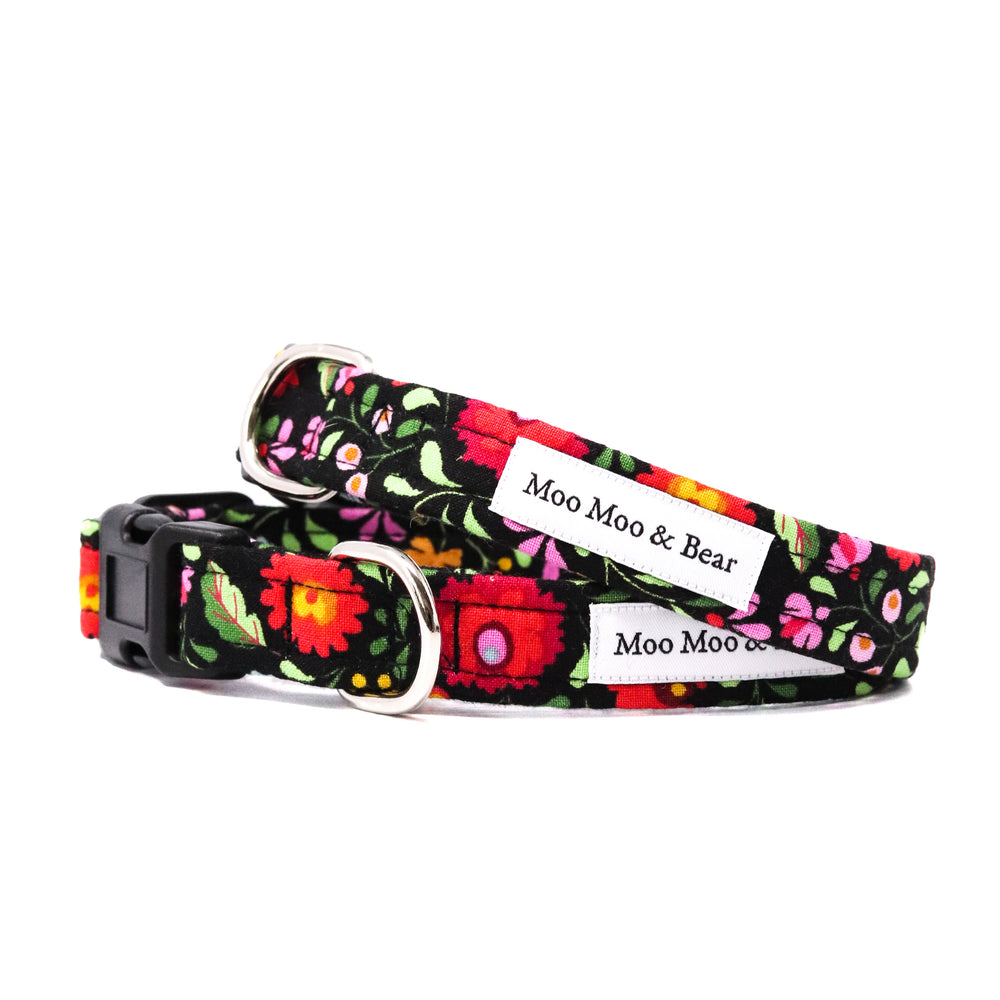 'BOHO' DOG COLLAR FELT FLOWER IN BLACK
