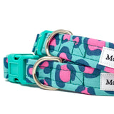 'FIERCE' DOG COLLAR AND OPTIONAL LEAD IN TEAL LEOPARD PRINT