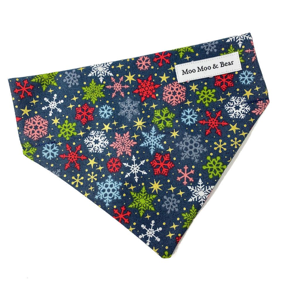 'SNOWFLAKE' WINTER GREY DOG BANDANA