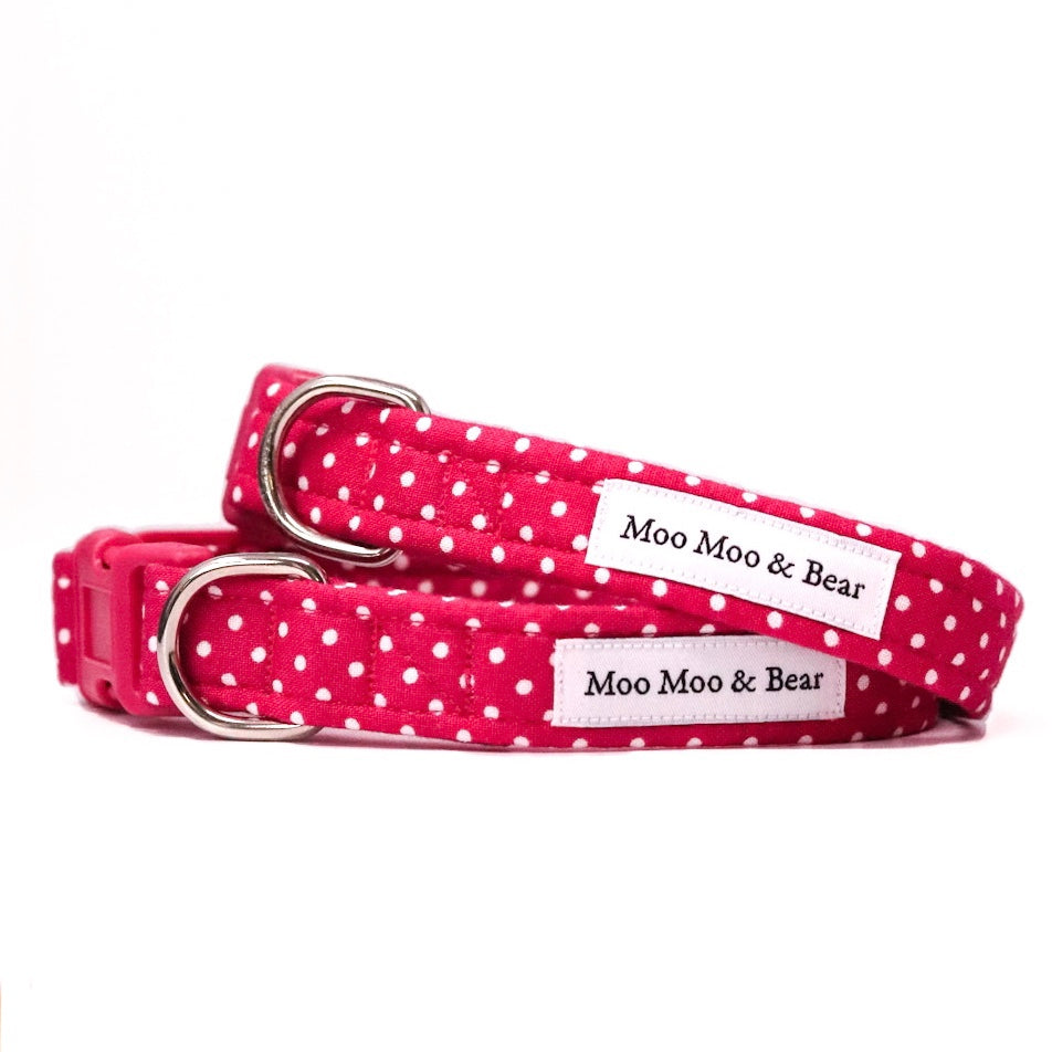 'POLKA DOT' DOG COLLAR AND OPTIONAL LEAD IN RASPBERRY