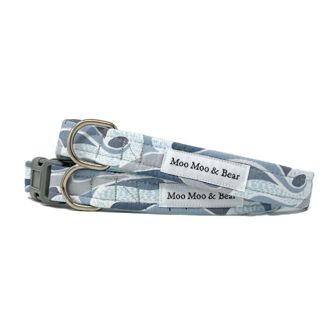 'FELLS AND PEAKS' DOG COLLAR AND OPTIONAL LEAD IN GREY