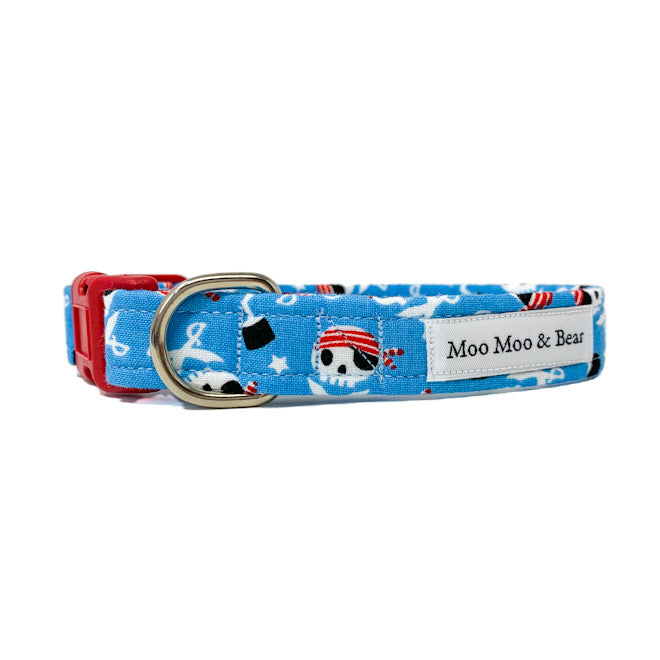 Moo Moo & Bear pirate captain Jack blue dog collar