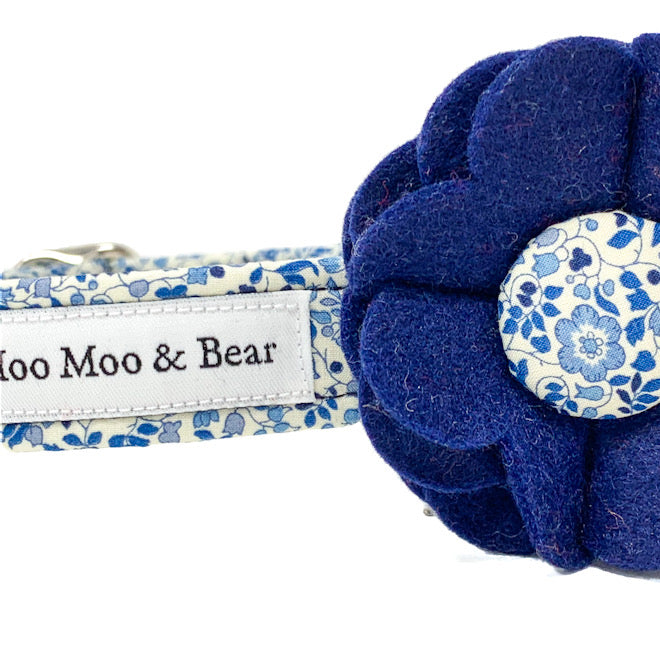 Katie and Millie Liberty felt dog collar flower