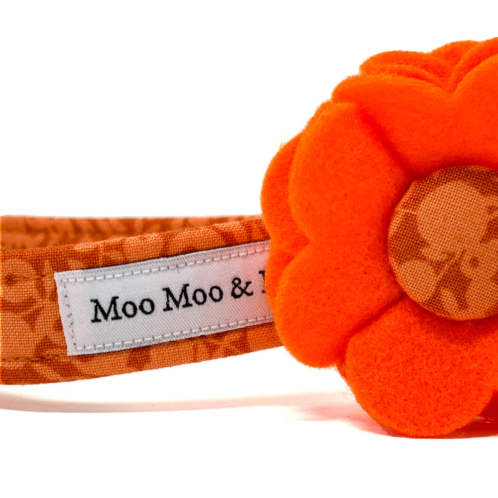 Liberty of London dog collar flower in Orange woolblend felt and Wiltshire button