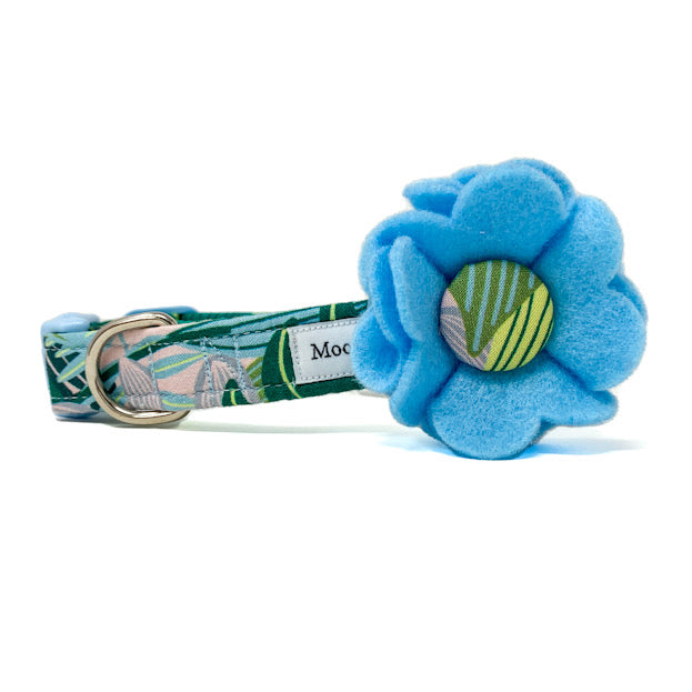 'TROPICS' DOG COLLAR FELT FLOWER IN BLUE