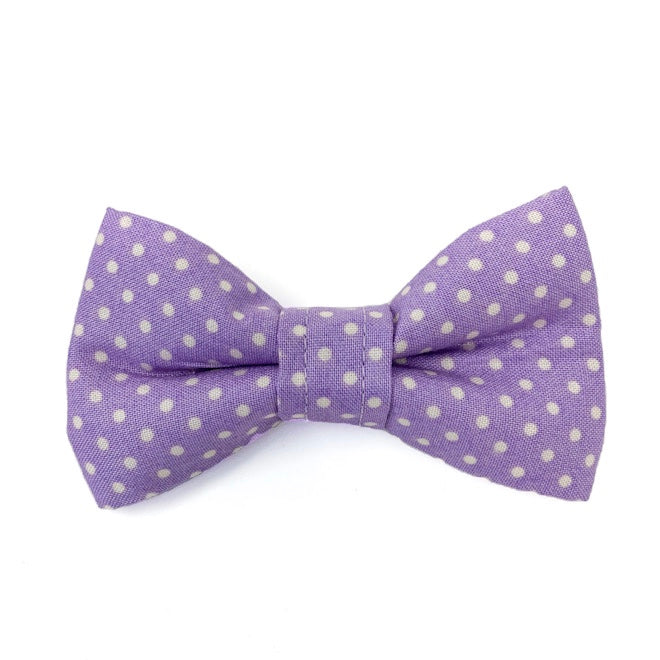 'POLKA DOT' DOG BOW TIE IN LILAC