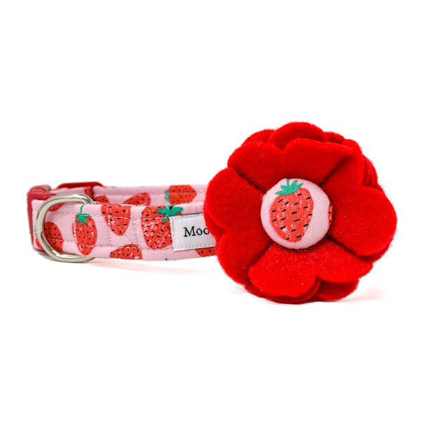 'STRAWBERRY' DOG COLLAR FELT FLOWER