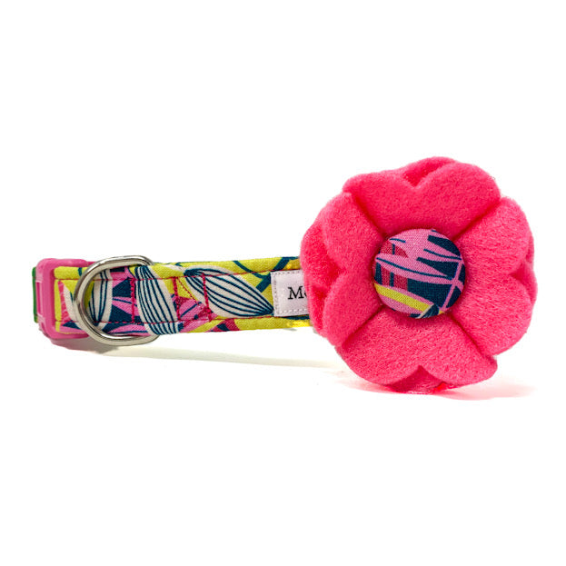 'TROPICS' DOG COLLAR FELT FLOWER IN PINK