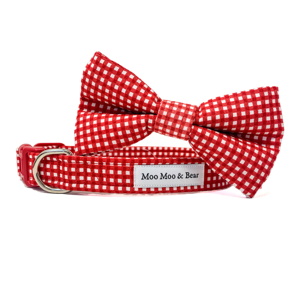 'GINGHAM' DOG COLLAR FELT FLOWER IN RED