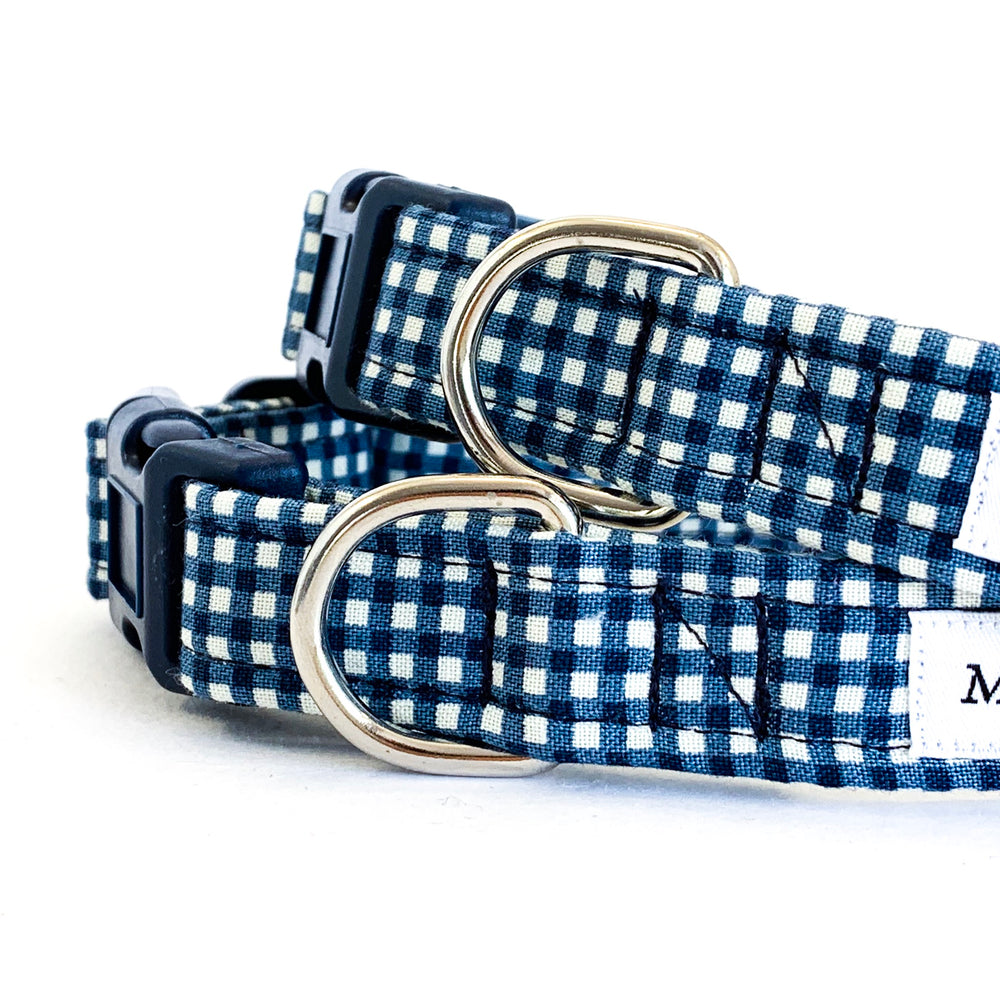 'GINGHAM' DOG COLLAR AND OPTIONAL LEAD IN NAVY BLUE