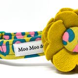 'FIERCE' DOG COLLAR FELT FLOWER IN MUSTARD LEOPARD PRINT