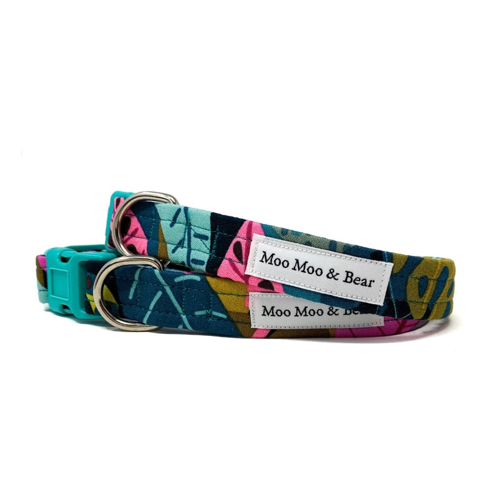 'FIERCE' DOG COLLAR AND OPTIONAL LEAD IN JUNGLE PRINT