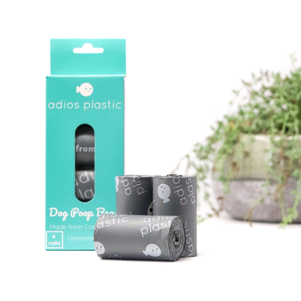 Adios compostable plastic free dog poo bags in grey
