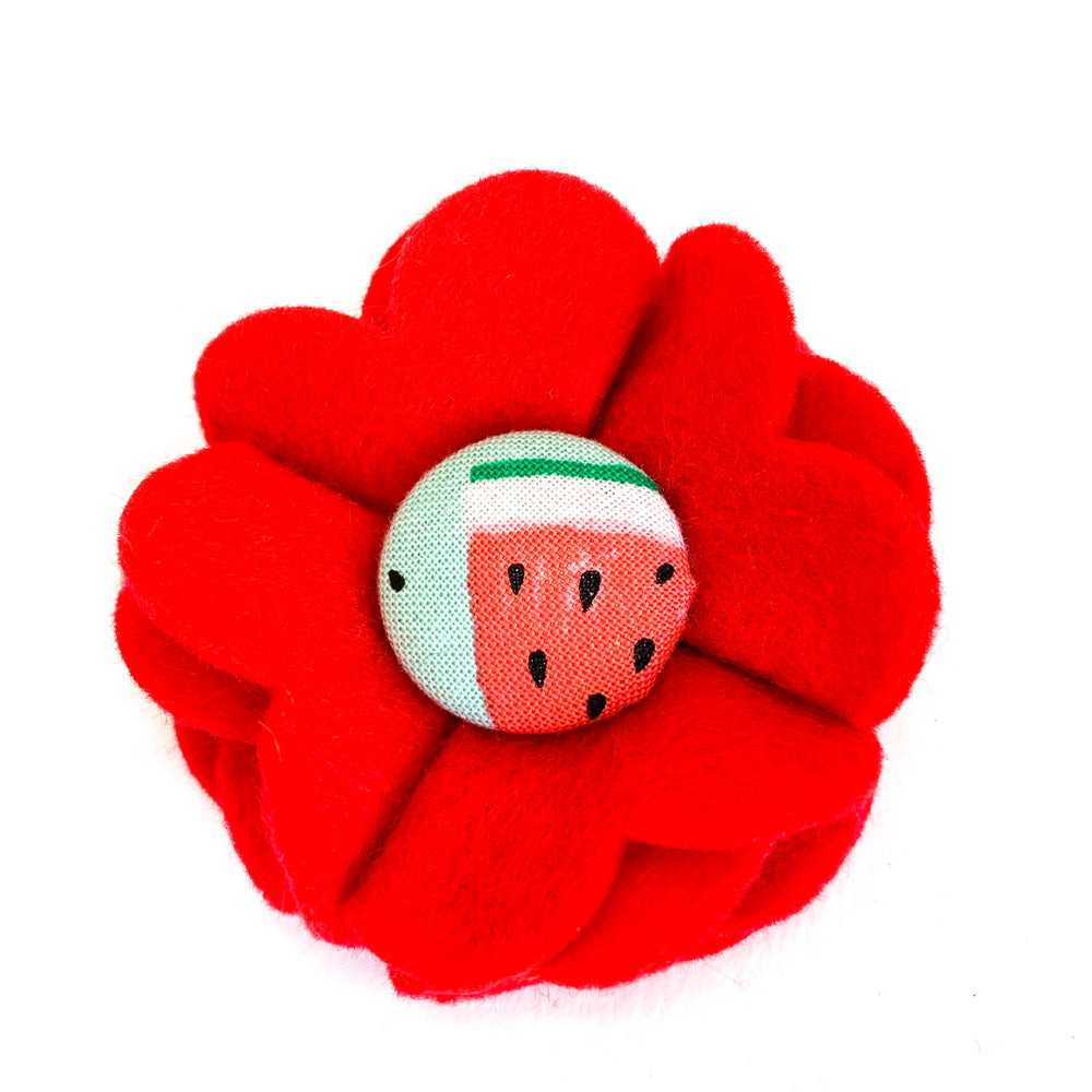 'WATERMELON' DOG COLLAR FELT FLOWER