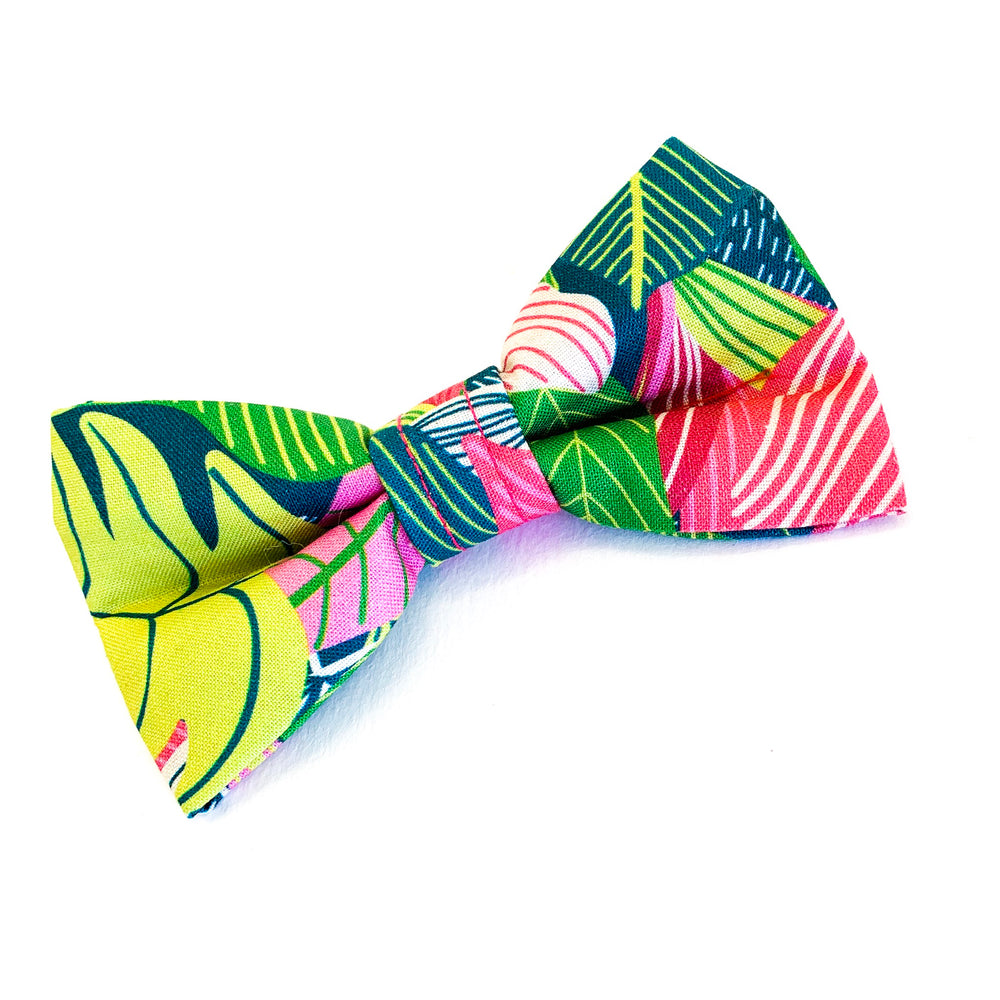 'TROPICS' DOG BOW TIE IN PINK