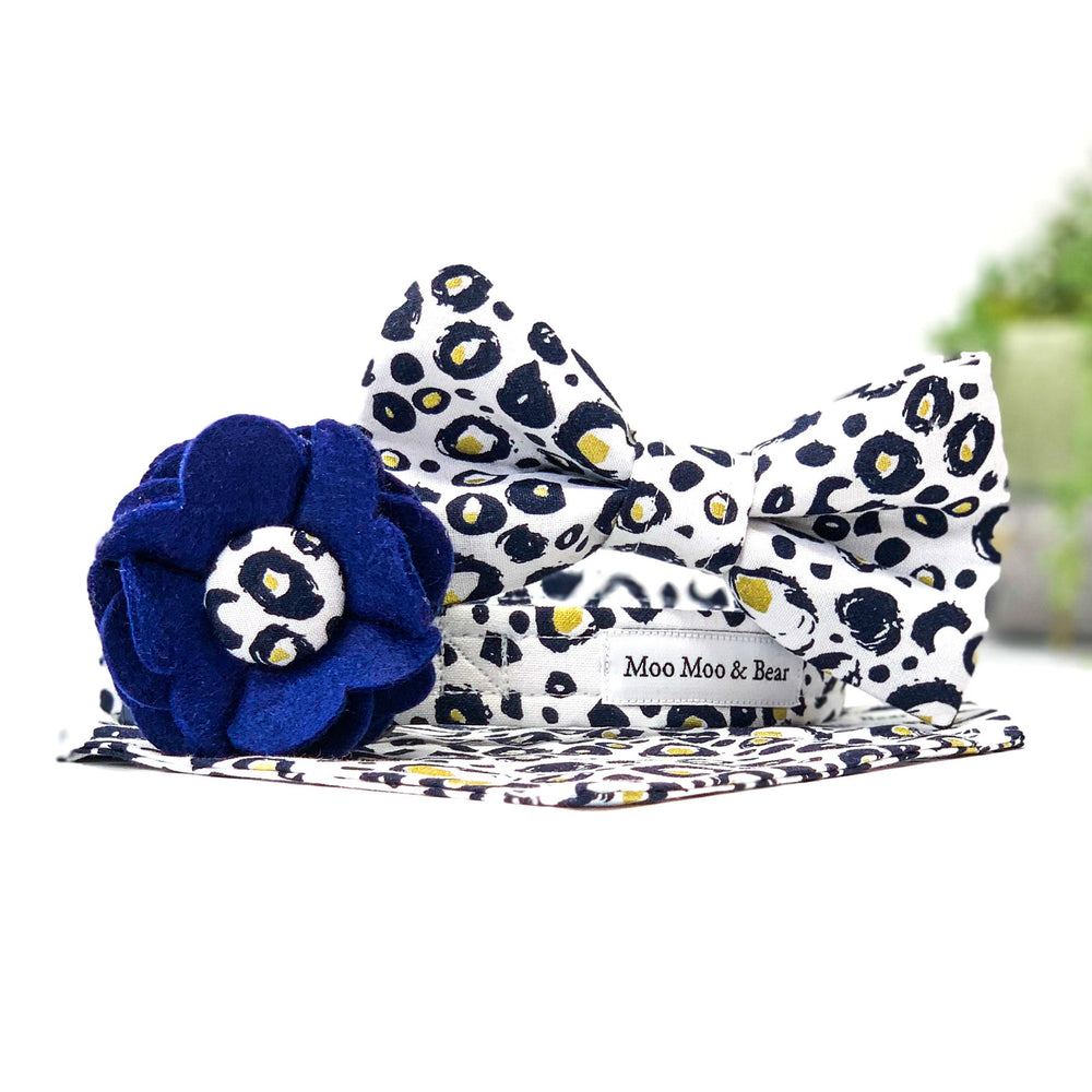snow leopard print dog collar, bandana, bow tie and flower
