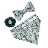 'LACE' DOG BOW TIE IN STEEL GREY