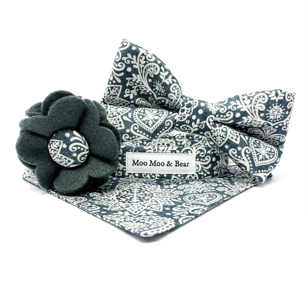 Scandi collection by Moo Moo & Bear, dog collar, bandana, collar flower  and bow tie