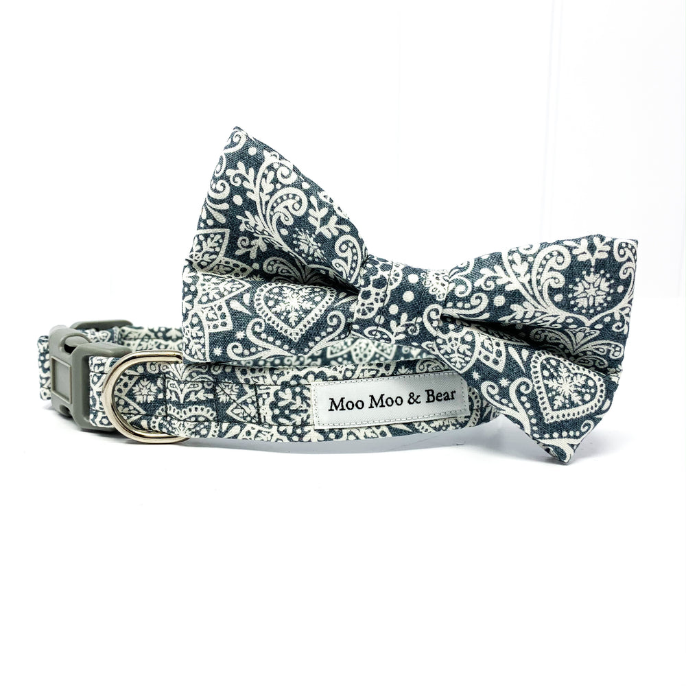 Scandi grey dog collar bow tie