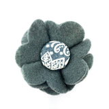 Grey felt Scandi dog collar flower accessory